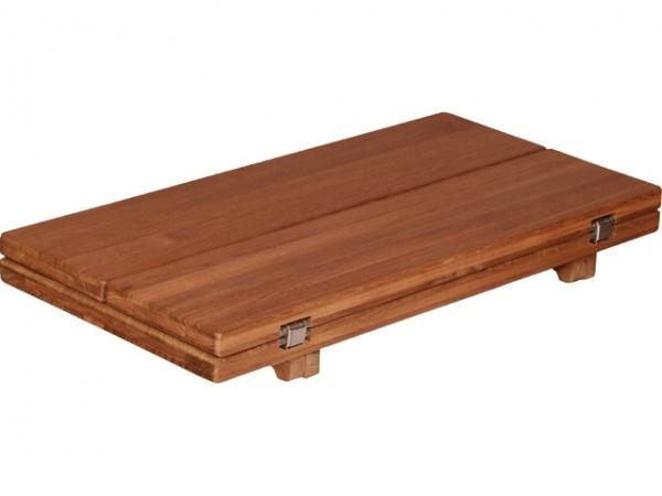 EUDE - Teak Tischplatte Wing glatt, 33/66 x 65cm