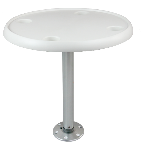 Tischset: Bootstisch mit Tischplatte rund, abnehmbarem Tischfuß und Bodenplatte